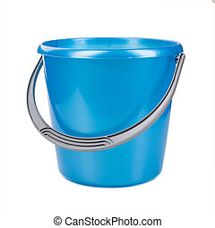 Blue plastic bucket on a white background.
