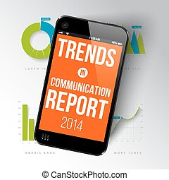 Report template with realistic smartphone - Vector report...