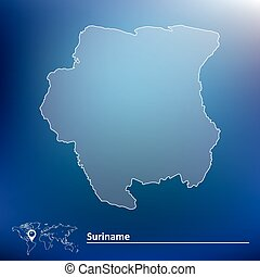 Map of Suriname - vector illustration