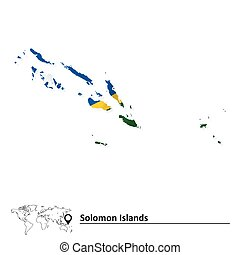 Map of Solomon Islands with flag