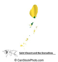 Map of Saint Vincent and Grenadines with flag - vector...