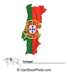 Map of Portugal with flag - vector illustration