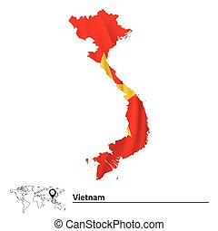 Map of Vietnam with flag - vector illustration