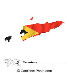 Map of Timor-Leste with flag - vector illustration