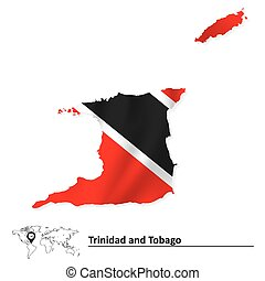 Map of Trinidad and Tobago with flag - vector illustration