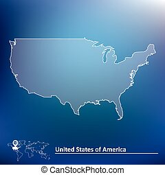 Map of United States of America - vector illustration