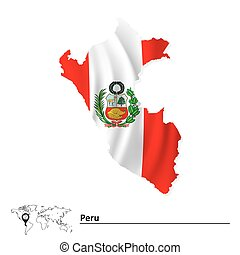 Map of Peru with flag