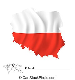 Map of Poland with flag