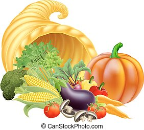 Cornucopia Illustration - Thanksgiving or golden horn of...