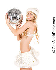sexy santa helper with disco ball - picture of sexy santa...