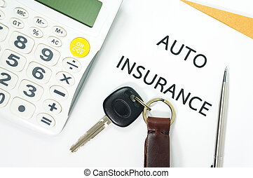 Auto insurance with car key and calculator