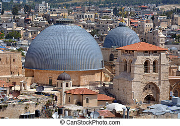 Holy Sepulchre Church in old city of Jerusalem, Israel -...