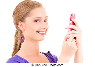 happy teenage girl with cell phone - picture of happy...