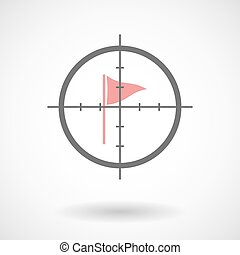 Crosshair icon targeting a golf flag - Illustration of a...