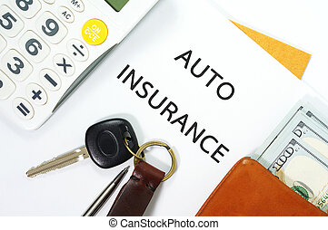 Auto insurance concept - Auto insurance paper with car key...