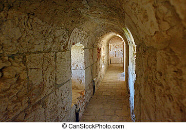 Stone tunnel in Jerusalem - Israel - Stone tunnel in the...