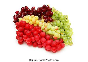 vario, sorts, uvas, aislado, blanco