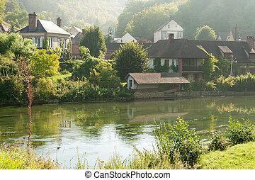 Acquiqny village - Picturesque village Acquiqny on river...