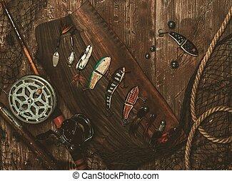 pesca, ferramentas, ligado, Um, madeira, fundo,
