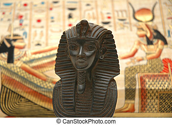 Figure of sphynx and background with elements of egyptian ancient history
