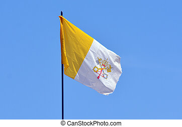 Flag of the Vatican City and the Holy See in Jerusalem,...