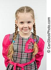 Half-length portrait four-year girl Europeans - Half-length...