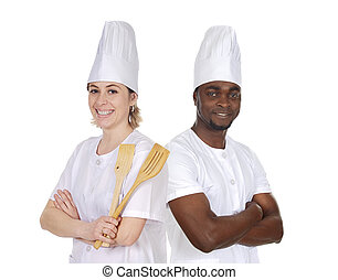 Teamwork of kitchen on a over a white background