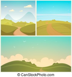 Country Road Set - Set of three summer cartoon backgrounds...