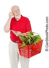 Senior Shopper - Forgetful - Senior man shopping for...