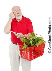 Senior Shopper - Forgetful - Senior man shopping for...