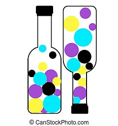 Bottles containing CMYK Colors - Bottles containing primary...