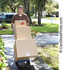 Delivery Man Coming Up the Walk - Delivery man or mover...