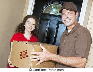 Friendly Delivery Guy and Customer - Friendly delivery man...