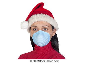 Girl at Christmas with mask