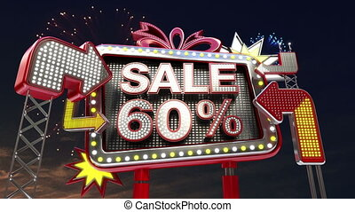 Sale sign SALE 60 percents in led light billboard promotion...