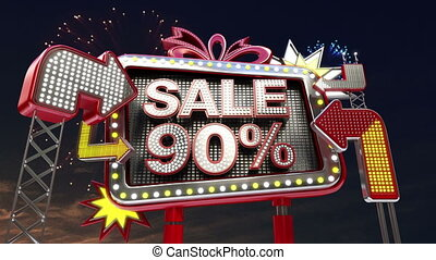 Sale sign SALE 90 percents in led light billboard promotion...