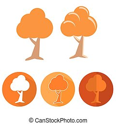 Tree icons collection - design elements. Vector flat icon...