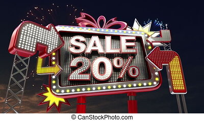 Sale sign SALE 20 percents in led light billboard promotion...