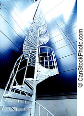 Industrial zone, Steel stairs in blue tones