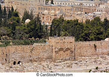 The Golden Gate in Jerusalem Old City Walls - Israel - The...