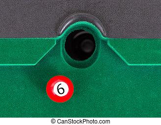 vermelho, snooker, bola, -, Número, 6,