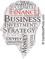 Business & finance related word art head