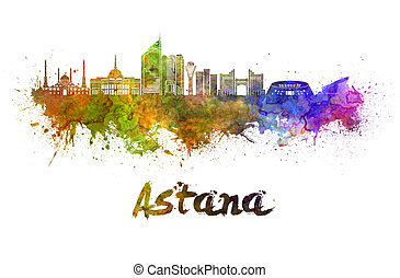 Astana skyline in watercolor splatters with clipping path