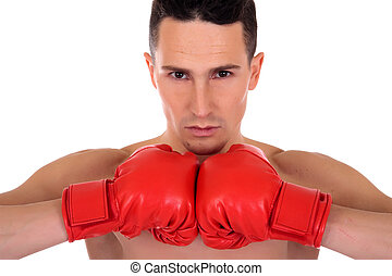 Male athlete boxer - Young handsome topples male athlete...