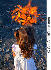 Lag BaOmer Jewish Holiday - Little Jewish girl stand beside...