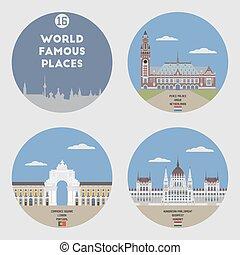 World famous places. Set 16: Lisbon, Budapest, Hague