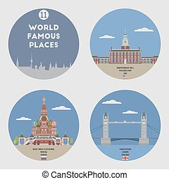 World famous places Set 11: Philadelphia, Moscow and London