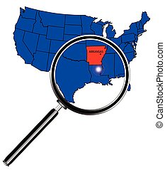 Arkansas state outline set into a map of The United States...