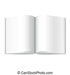 Blank white vector opened book, magazine or photo album for...
