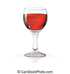 Blank transparent photo realistic isolated on white wine glass with red wine, for branding and your design.